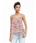 Banana Republic Strappy Tiered Tank, Pink Multi, 100% Polyester, Size L,... - $78.00