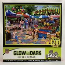 Glow in the Dark Hidden Images Puzzle 500 PC Jigsaw Corner Market Farmers - $22.28