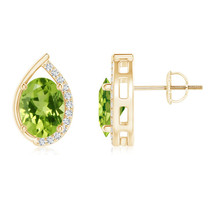 Teardrop Framed Oval Peridot Solitaire Stud Ear... - $323.22 - $495.99