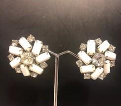 VIntage WEISS Clear Rhinestone Faceted Milk Glass Clip Earrings Silvertone - $24.11