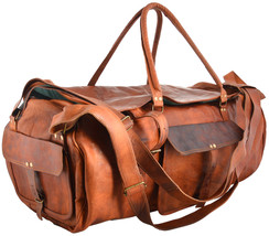 HC Leather- Vintage Brown Mens Leather Travel  Duffel Gym Overnight Bag... - $59.03