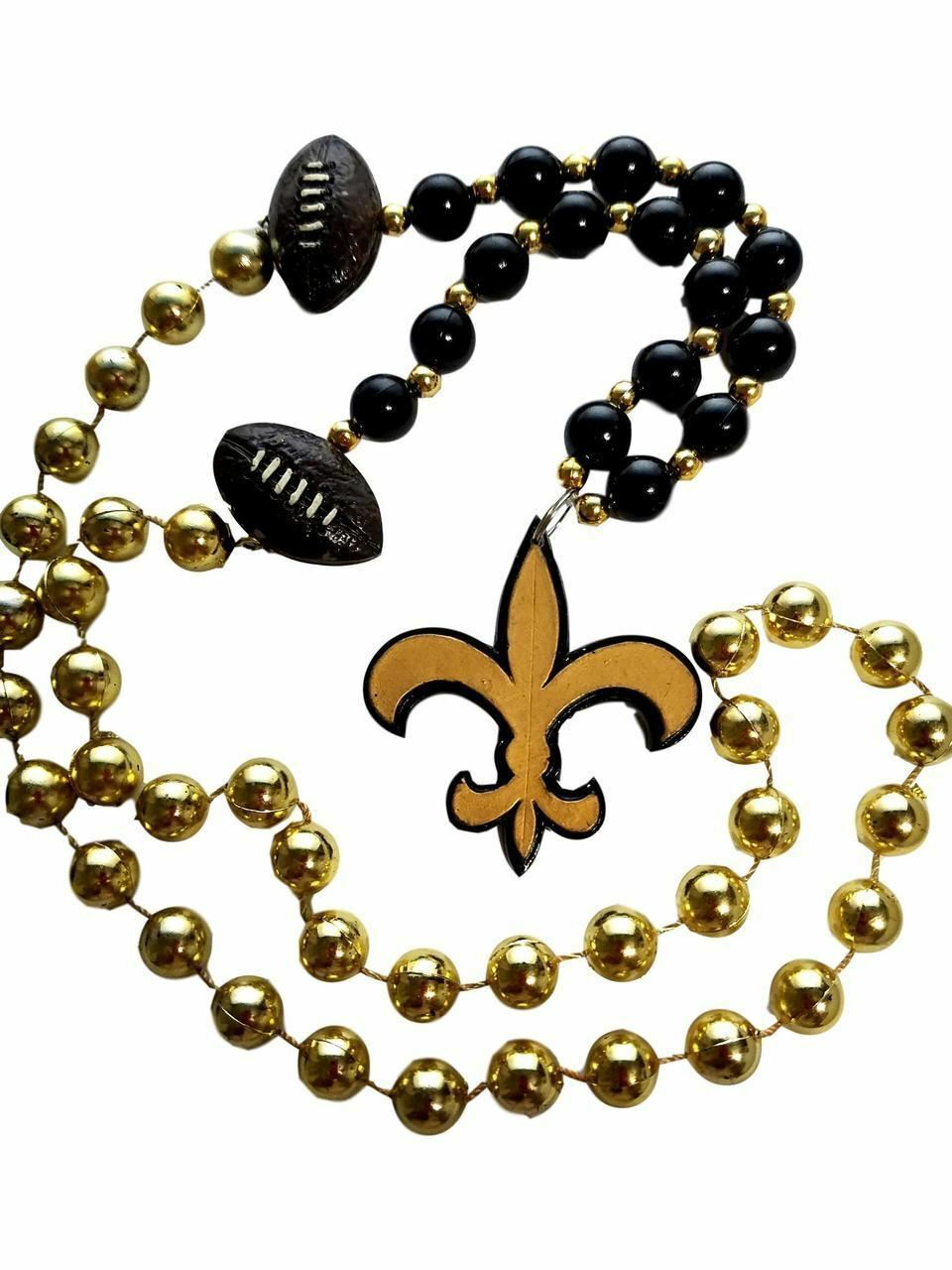 Fleur De Lis Black Gold with Football Mardi Gras Beads Party Favor