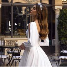Luxury Princess Bride A Line Satin Long Sleeve With Romantic Buttons Backless We image 4