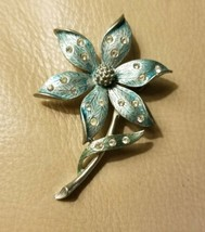 Vintage J.J. Jonette Rhinestone Brooch Blue Flower Brooch Pin Floral Sil... - $9.69