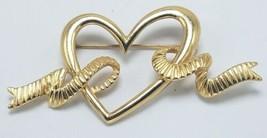 "MONET Heart Ribbon Brooch Gold Tone Smooth Textured Ribbon Signed 2 3/4""... - $17.95"