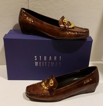 Stuart Weitzman Sal Wood Cosmo Brown Patent Leather Loafers $398 Spain - $57.38
