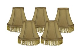 Urbanest Set of 5 Gold with Gold Fringe Silk Bell Chandelier Lamp Shade, 3-inch  - $28.70