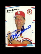 1988 Fleer Baseball #31 DOUG DECINCES Card SIGNED St. Louis Cardinals Au... - $7.79