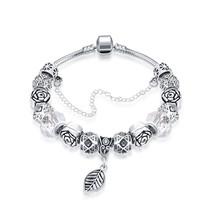 18K White Gold Plated Heart Charm Bracelet Made with Swarovski Elements - $12.73