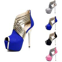 Women Fancy Stiletto High Heels Platform Peep Toe Pumps Club Heels