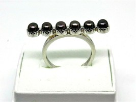 Natural 3.25 mm Round Black Peacock Pearl 925 Sterling Silver WW Size 10 - $24.74