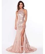 Maxi Dress Halter High Split Open Back Floor Length Sequins Prom Evening... - $109.99