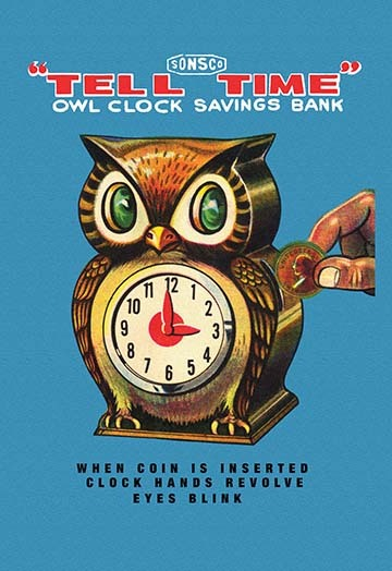 Tell Time Owl Clock - Art Print - $19.99 - $179.99