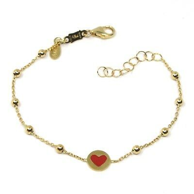 18 KT YELLOW GOLD BRACELET FOR KIDS WITH GLAZED HEART LOVE MADE IN ITALY 5.91 IN