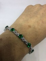 Art Deco Vintage Genuine Green Chrome Diopside 925 Sterling Silver Bracelet - $237.60