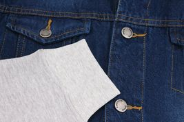 Men's Two Tone Jean And Grey Jersey with Removable Hood Denim Trucker Jacket image 10