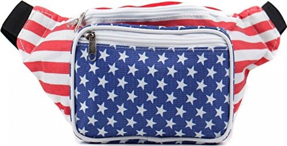 SoJourner Bags Fanny Pack - USA American Flag Stars And Stripes (Red, White,