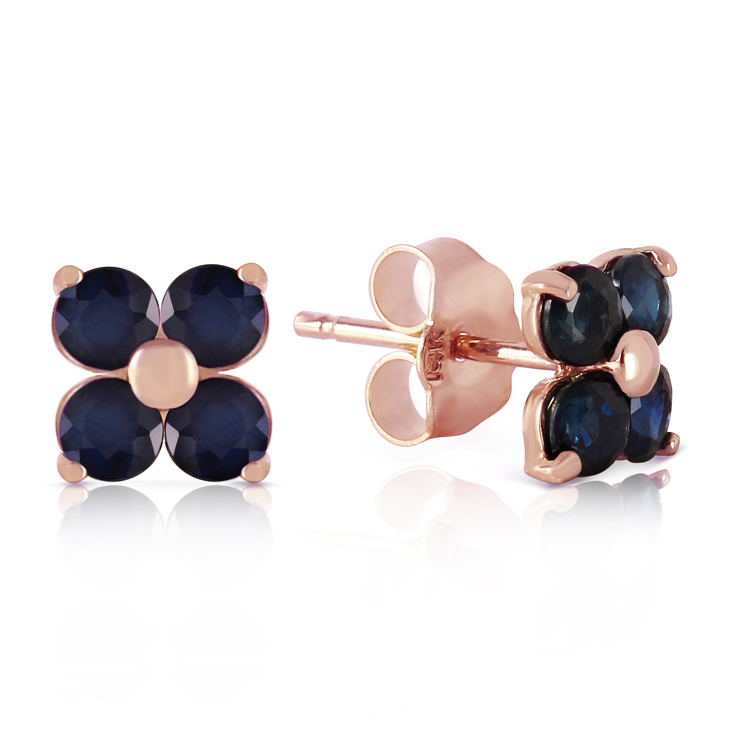 Primary image for 14K Solid Rose Gold Stud Earrings with Natural Sapphires 6mm Gemstones