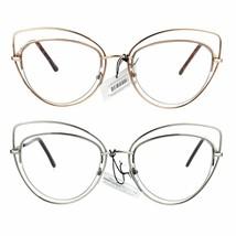 Womens Double Metal Wire Rim Cat Eye Goth Eye Glasses - $12.95