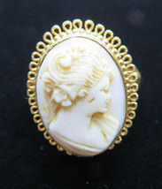 Vintage Vendome Carved Cameo Ring Signed Adjustable Size 6-7  - $60.00