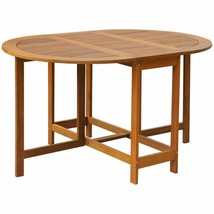 vidaXL Solid Acacia Wood Outdoor Drop Leaf Table Oval Dinning Stand Furn... - $101.99