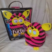 2012 Furby Boom Hasbro Pink & Black Striped W/ Yellow Accents comes With... - $26.17