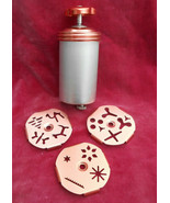 Vintage Mirro Aluminum & Copper Dial-A-Cookie Press Kit 3 Dial Design Discs - $33.65