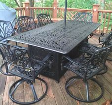 Fire pit dining table Cast Aluminum Propane Double Burner 9 Piece Outdoor Set image 4