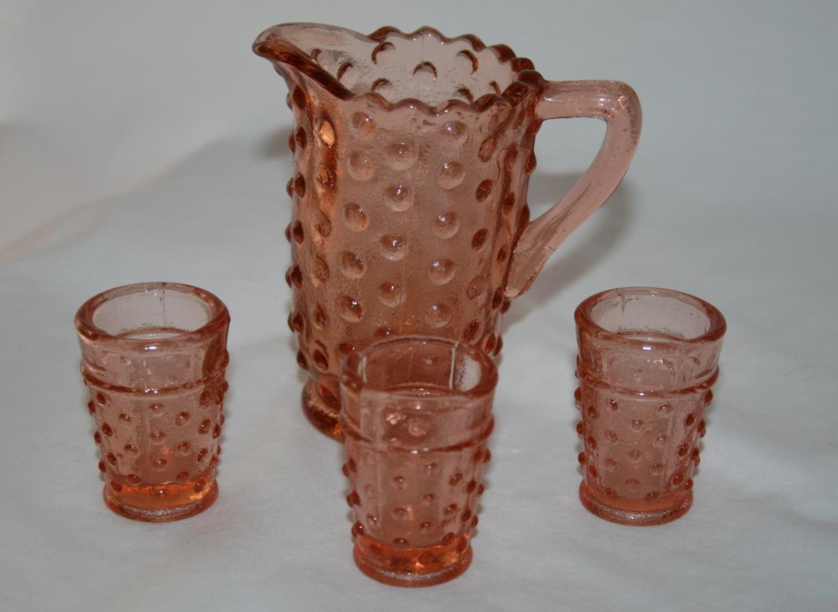 Primary image for Pink Hobnail Miniature Pitcher with 3 Tumber Set   #2188