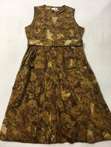 Moulinette Soeurs Anthropologie 12 Brown Floral Belted Dress Button Front - $37.99
