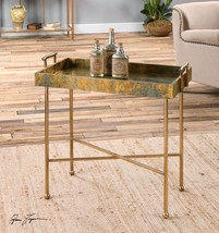 NEW AGED OXIDIZED COPPER SHEETING ACCENT END TABLE TRAY STYLE TOP MODERN... - $217.80