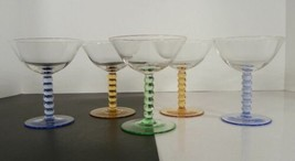 Colored Ball Stem Glass Champagne Tall Sherbet Goblet (s) LOT OF 5 UNK6239 - $29.65