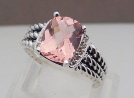 David Yurman Sterling Silver Petite Morganite Wheaton Ring Size 6 - $296.01