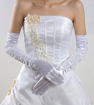 Bling Brides Bouquet Elegant  Bridal Wedding Gloves color white - $15.99