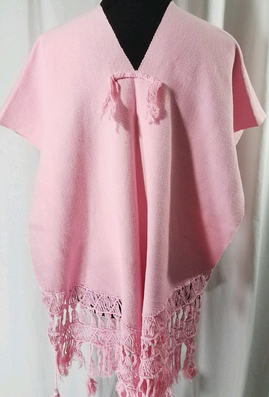 Vtg 1970s Poncho V Neck Crochet Hemline Tassels Pink Cotton One Size