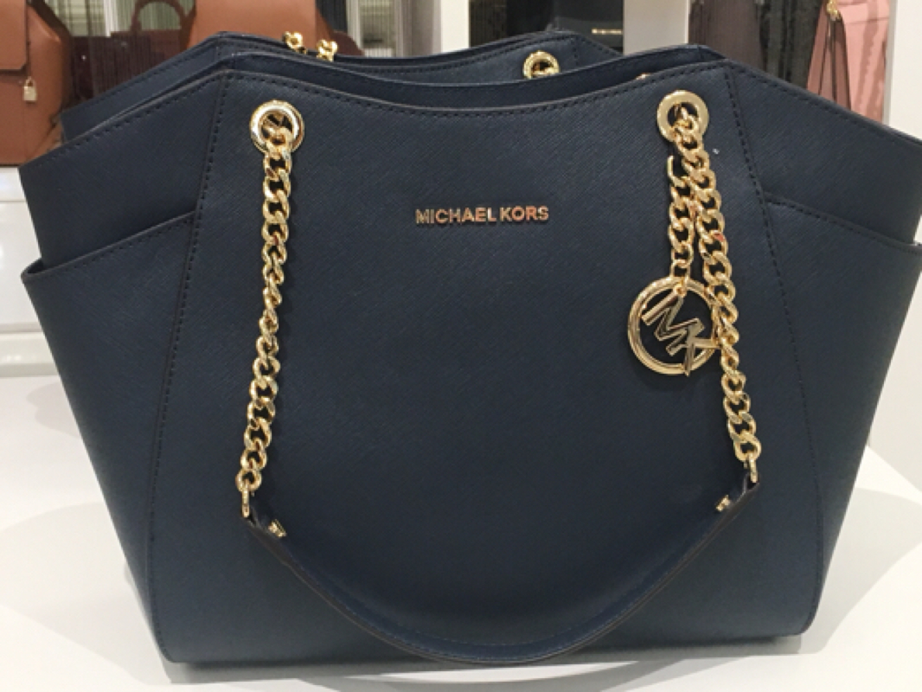 Authentic Michael Kors Navy Gold Tone And 50 Similar Items Greenwich Bag Img 5386 Shoulder
