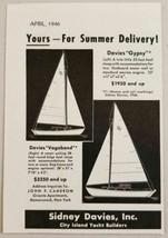 1946 Print Ad Sydney Davies Gypsy & Vagabond Sailboats Mamaroneck,NY - $9.08