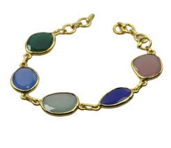 excellent Multi Gemstone Gold Plated Multi Bracelet Natural indian US gift - $18.80