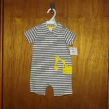Carter's Child of Mine Gray Striped w/ Tractor 1 Pc Play Suit  - $12.99