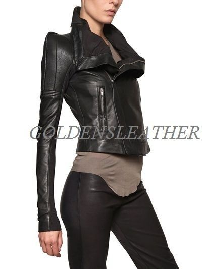 WOMEN BIKER MOTORCYCLE CASUAL SLIM FIT RIDER REAL GENUINE  LEATHER JACKET-A55