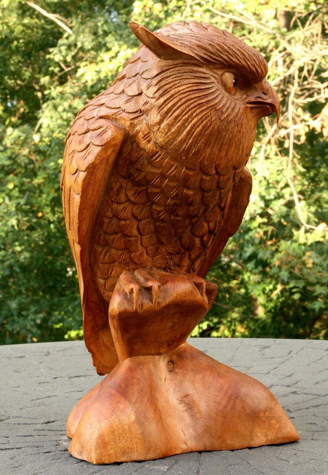 """12"""" Large Wooden Owl Statue Hand Carved Sculpture Figurine Art Home Decor Gift image 3"""