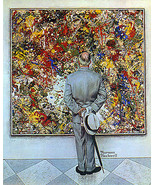 Abstract and Concrete 22x30 Art Norman Rockwell Jackson Pollock expressi... - $64.33