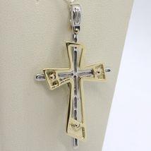 PENDENTIF DOUBLE CROIX OR JAUNE BLANC 750 18K,AVEC LE CHRIST,BRILLANTE image 6