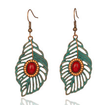 Bohemia Golden & Silver Leaf Hollow natural stone Tassel  earrings Vinta... - $7.03