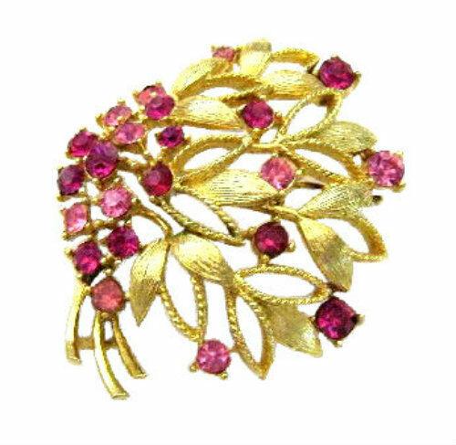 Vintage Lisner Gold Tone & Pink Rhinestone Brooch Pin