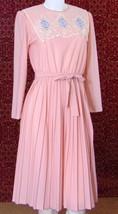 Pink VINTAGE long sleeve pleated dress S (TC1-01F8G) - $22.75