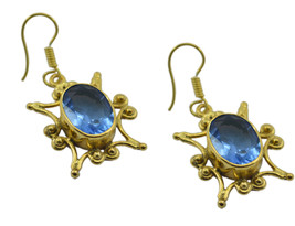 Blue Gold Plated Glass attractive Blue Shappire CZ supplies Earring AU gift - $14.54