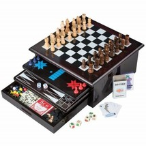 15n1 Deluxe Board Game Set Tabletop Wood-accented Game Center w/ Storage... - $71.88