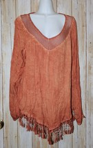 Womens Orange Fringe Accent Charlie B Long Sleeve Shirt Size Medium exce... - $7.91