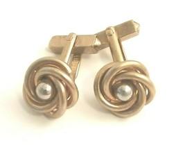 VTG Swank Gold Tone Love Knot Silver Tone Ball Center Cufflinks Men's Je... - $15.60
